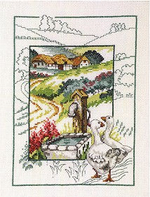 click here to view larger image of Geese At Pump (counted cross stitch kit)