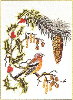 click here to view larger image of Bird With Holly (counted cross stitch kit)