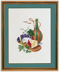 click here to view larger image of Cheese & Red Wine (counted cross stitch kit)