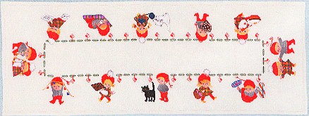 click here to view larger image of Elf Christmas Table Runner (counted cross stitch kit)