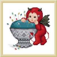 click here to view larger image of Little Stitch Devil with Pincushion (chart)
