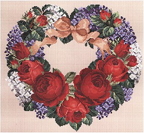 click here to view larger image of Roses & Lilacs Heart (chart)