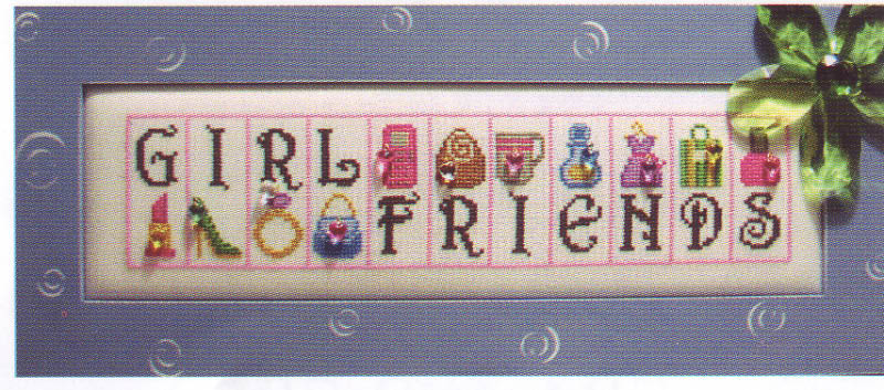 click here to view larger image of Girlfriends - jelly mini block (chart with charms/buttons)