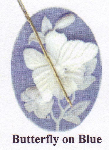 click here to view larger image of Butterfly on Blue  (needle minder) (magnet)