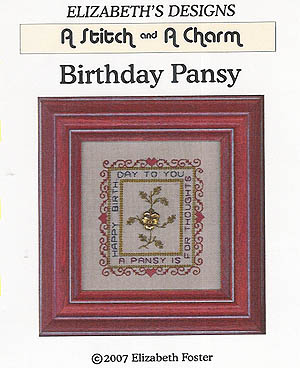 click here to view larger image of Birthday Pansy  (w/charm) (chart with charms/buttons)