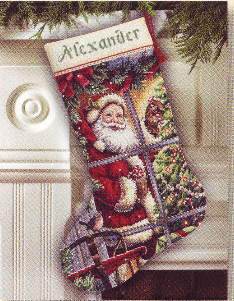 click here to view larger image of Candy Cane Santa Stocking (counted cross stitch kit)