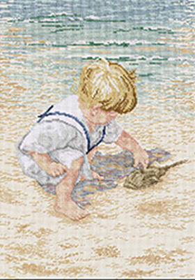 click here to view larger image of Boy with Horseshoe Crab (counted cross stitch kit)