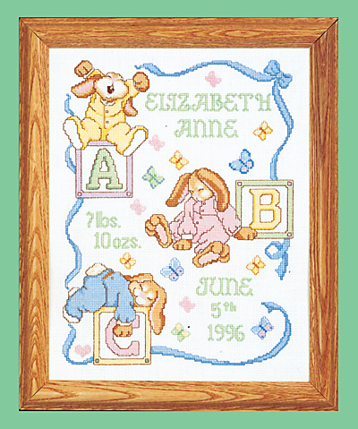 click here to view larger image of Sleepy Bunnies Birth Announcement (counted cross stitch kit)