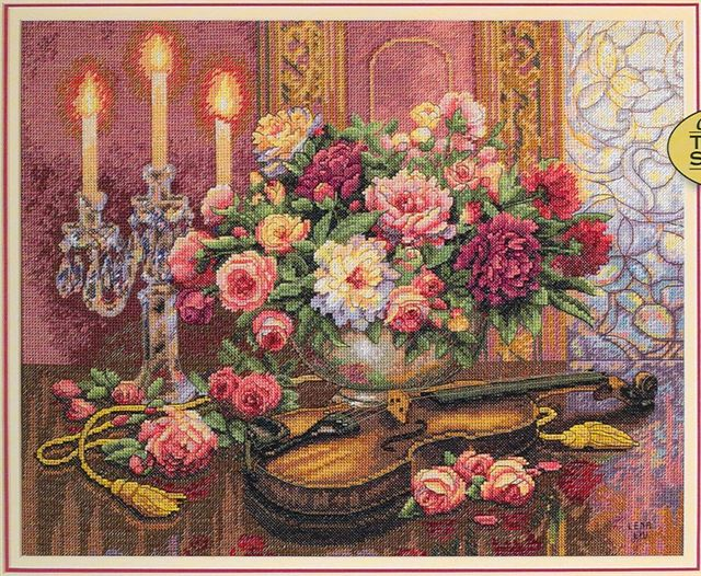 click here to view larger image of Romantic Floral (counted cross stitch kit)
