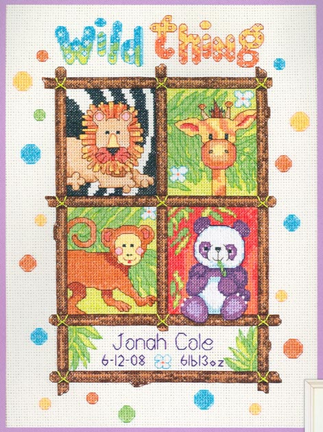 click here to view larger image of Wild Thing Birth Record (counted cross stitch kit)