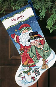 click here to view larger image of Santa and Snowman Stocking (counted cross stitch kit)