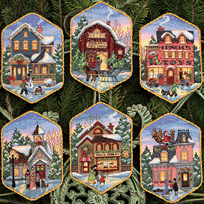 click here to view larger image of Christmas Village Ornaments (counted cross stitch kit)