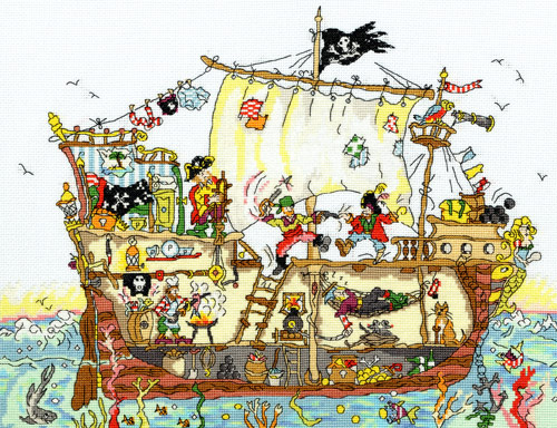 click here to view larger image of Cut Thru Pirate Ship (counted cross stitch kit)