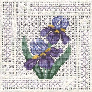 click here to view larger image of Crystal Irises (counted canvas chart)