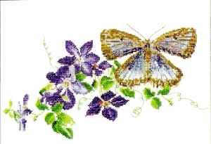 click here to view larger image of Blue Butterfly with Clematis - Aida (counted cross stitch kit)