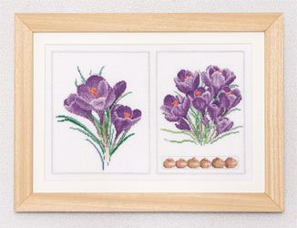 click here to view larger image of Purple Flowers (Crocus Panel) - Aida (counted cross stitch kit)