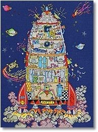 click here to view larger image of Cut Thru Rocket Ship (counted canvas kit)