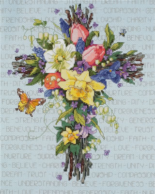 click here to view larger image of Spring Floral Cross (counted cross stitch kit)