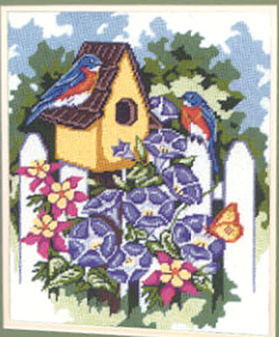 click here to view larger image of Bluebirds and Morning Glories (needlepoint)