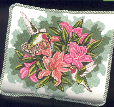 click here to view larger image of Hummingbirds & Lilies (needlepoint)