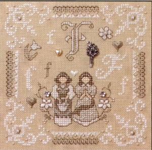 click here to view larger image of F Is For Friends and Flowers (kit) (counted cross stitch kit)