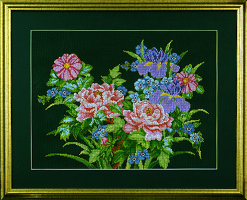 click here to view larger image of Peony Floral (counted cross stitch kit)
