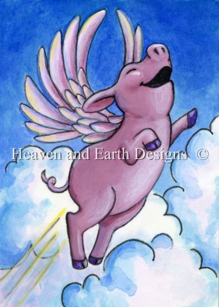 click here to view larger image of Flying Pink Piggie - Quick Stitch (chart)