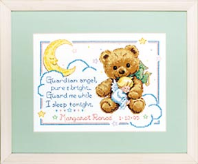 click here to view larger image of Cuddly Bear Birth Record (counted cross stitch kit)
