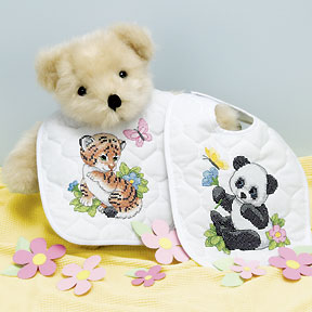 click here to view larger image of Baby Animals Bibs (stamped bib)