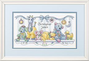 click here to view larger image of Babys Friends Birth Record (counted cross stitch kit)