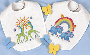 click here to view larger image of Noah's Ark Bibs (stamped cross stitch kit)