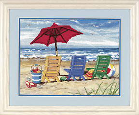 click here to view larger image of Beach Chair Trio (needlepoint kits)