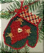 click here to view larger image of Holiday Heart  (2004) - Mitten Ornament (counted cross stitch kit)
