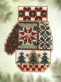 click here to view larger image of Patchwork Holiday  (2005) - Mitten Ornament (counted cross stitch kit)