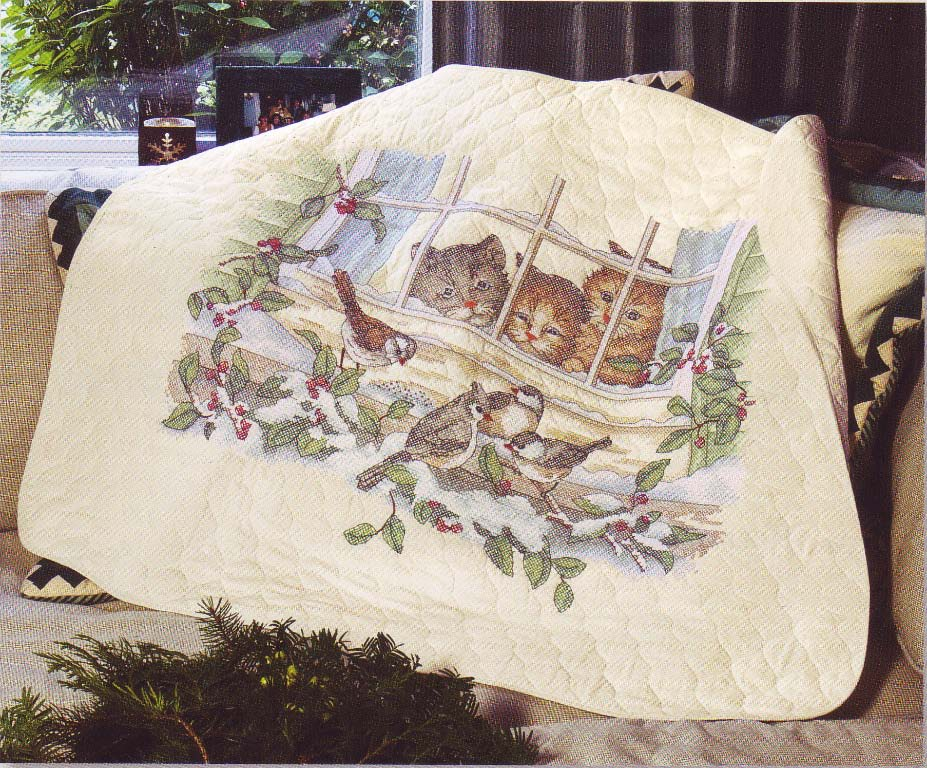 click here to view larger image of Three Bird Watchers Quilt (stamped cross stitch kit)