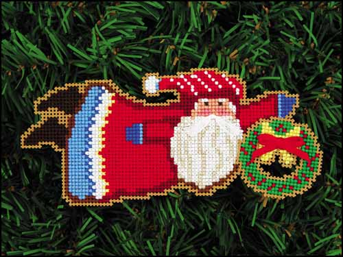 click here to view larger image of Welcome Wreath Santa (counted cross stitch kit)