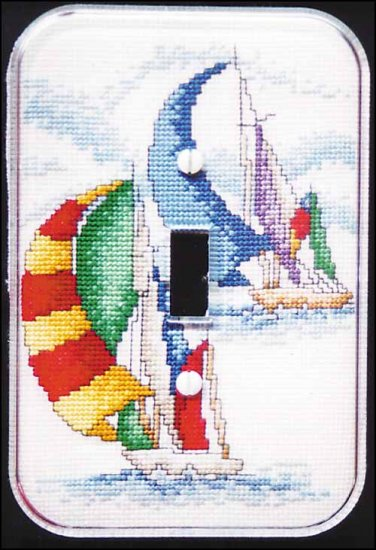 click here to view larger image of Sailboats  Switchplate (stitchable)