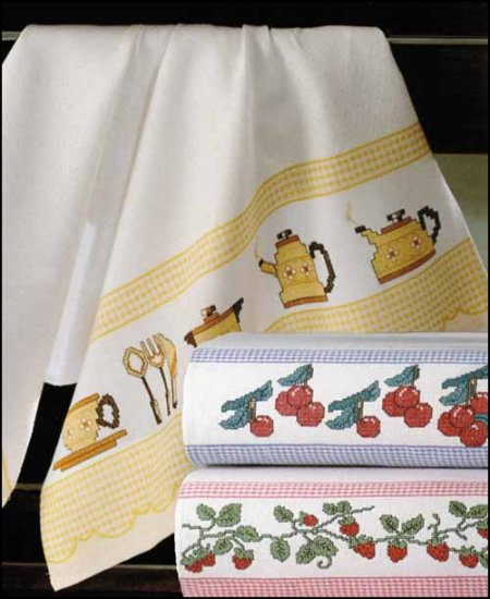click here to view larger image of Checked Border Kitchen Towel (stitchable)