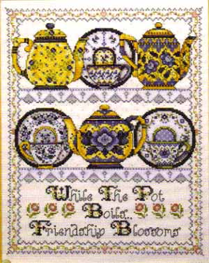 click here to view larger image of Friendship Teapots (counted cross stitch kit)