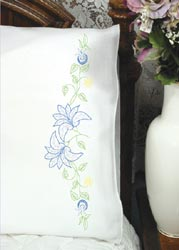 click here to view larger image of Lilies On Vine Pillowcases (stamped cross stitch)