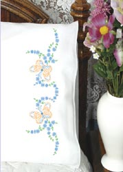click here to view larger image of Butterflies & Flower Vine Pillowcases (stamped cross stitch)