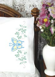 click here to view larger image of Butterfly & Vines Pillowcases (stamped cross stitch)