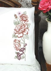 click here to view larger image of Roses & Petunias Pillowcases (stamped cross stitch)