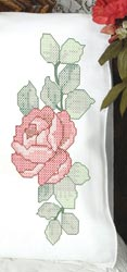 click here to view larger image of Red Rose Pillowcases (stamped cross stitch)