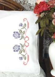 click here to view larger image of Morning Glories & Ribbon Pillowcases (stamped cross stitch)