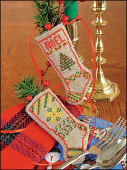 click here to view larger image of Noel Linen Stocking Kit (counted cross stitch kit)