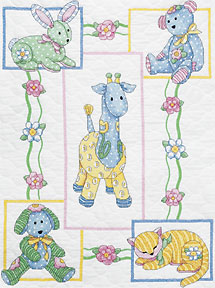 click here to view larger image of  Baby's Friends Quilt (stamped cross stitch kit)